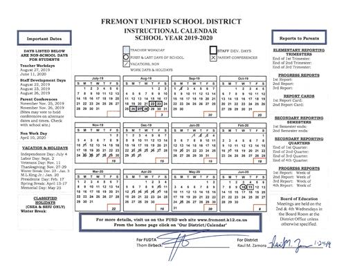 Fusd Calendar 2020 FUSD Sets Instructional Calendar for 2019 20 School Year